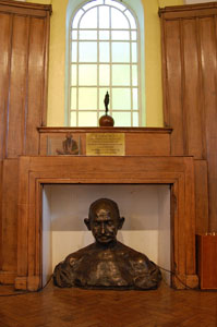 bust of Gandhi in Kingsley Hall, London