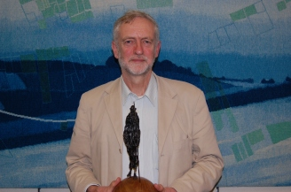 Jeremy Corbyn with The Gandhi Foundation International Peace Award 2013