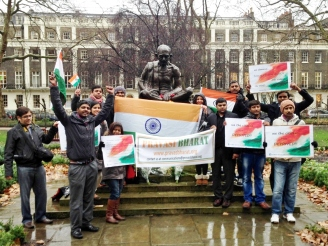 at the Mahatma Gandhi statue in Tavistock Square, London