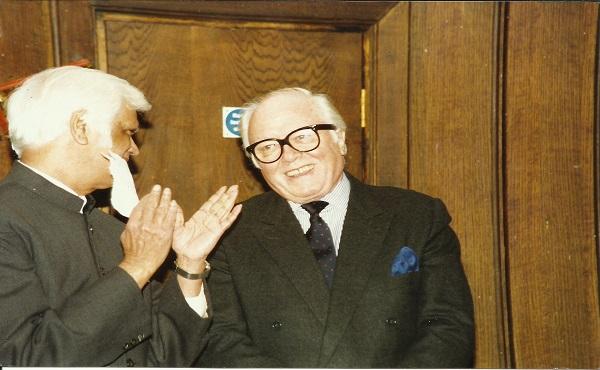 Sir Richard Attenborough and Surur Hoda at Kingsley Hall in 1996