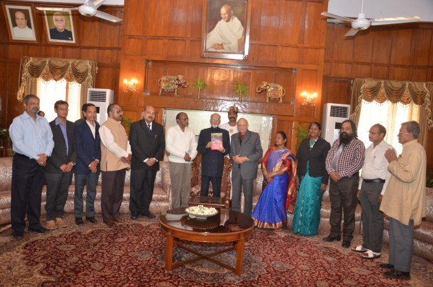 Dr.Syed Ahmed, Governor of Jharkhand in the presence of a select gathering in the Darbar Hall of the Raj Bhawan in Ranchi on 12th Nov.2014.