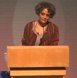 Arundhati Roy giving the 2014 UCL Lecture. image © UCL